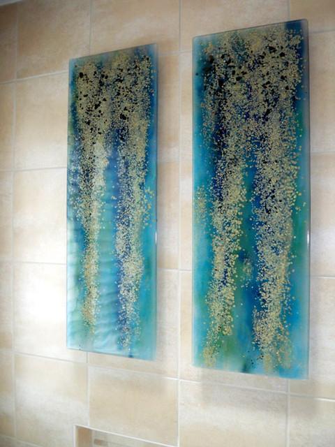 Rainforest Art Panels Modern Bathroom