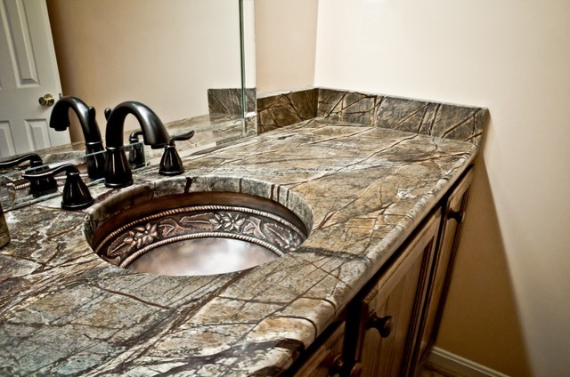 Granite For Bathroom Vanity rainforest brown granite bathroom vanity - traditional - bathroom
