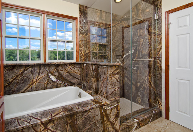Rainforest brown granite vanity tub surround and shower for Forest bathroom ideas