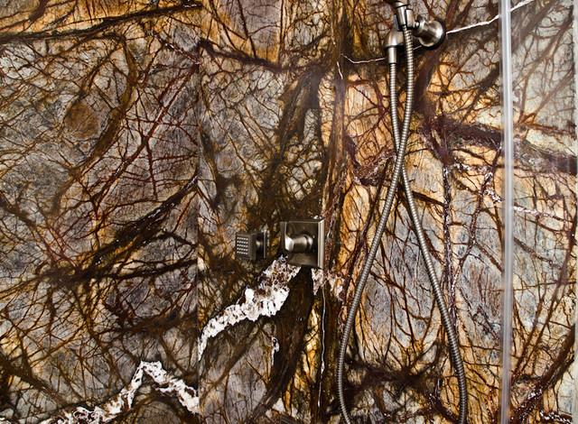 Rainforest Brown Marble : Rainforest brown granite vanity tub surround and shower
