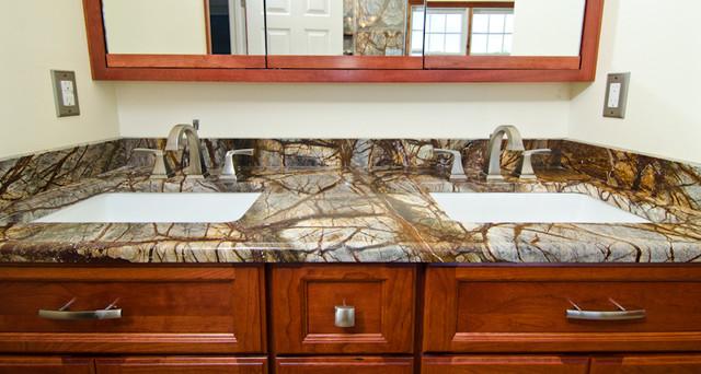 Rainforest Brown Granite Vanity Tub Surround And Shower