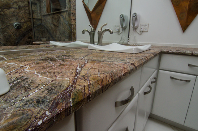 Rainforest Brown Leathered Granite Bathroom Traditional