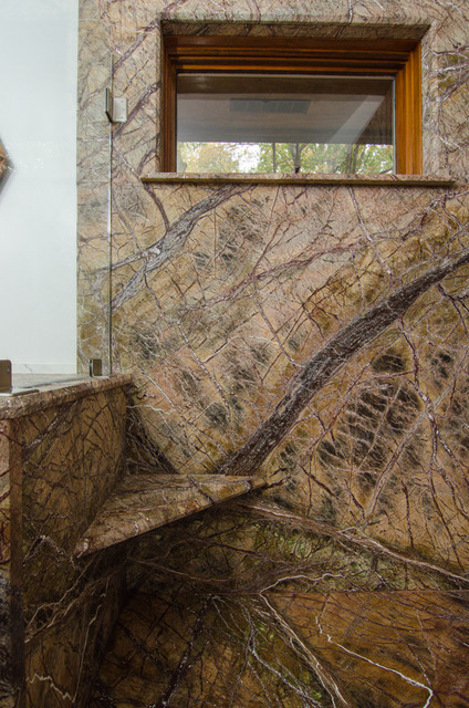 Rainforest Brown Granite : Rainforest brown leathered granite bathroom traditional