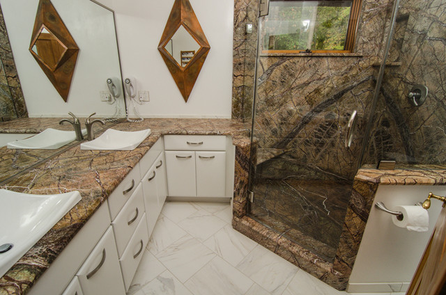 Rainforest Brown Leathered Granite Bathroom Traditional Bathroom