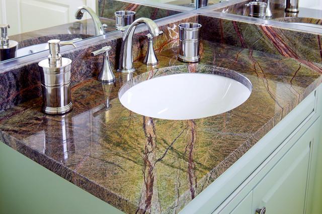Rainforest Green Granite Vanity - Modern - Bathroom - Boston