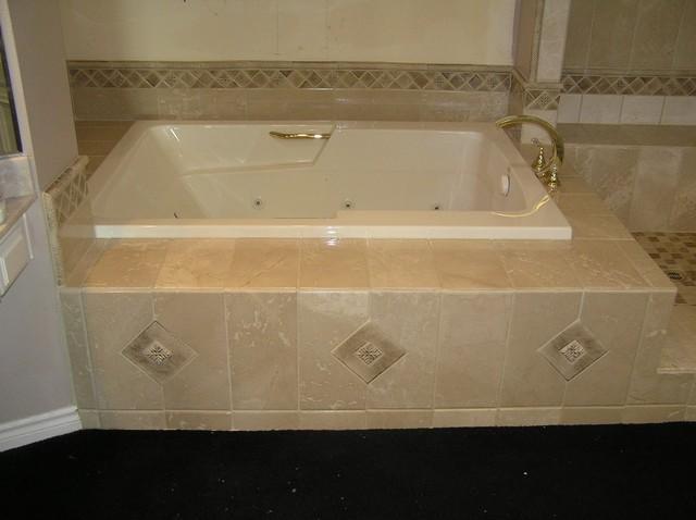 raised tub with custom border row shower  seat  rustic, Home design