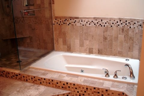 Raleigh bath remodel travertine and glass contemporary for Bath remodel raleigh