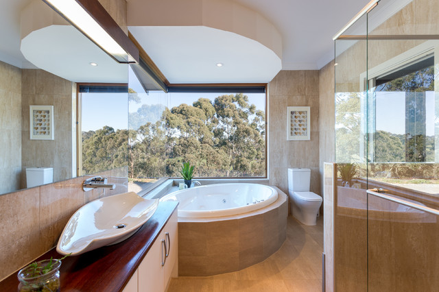 Rammed Earth Home Contemporary Bathroom Adelaide By Claridge Construction