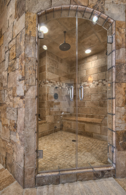 Ranch at goldenview rustic bathroom for Cabin shower tile ideas