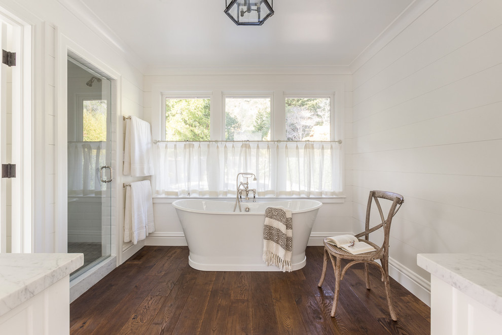 Example of a mid-sized classic kids' white tile and porcelain tile marble floor bathroom design in San Francisco with medium tone wood cabinets, a one-piece toilet, white walls, an undermount sink and marble countertops