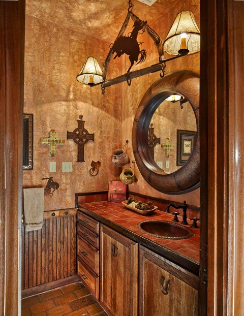 ranch guest bath rustic bathroom