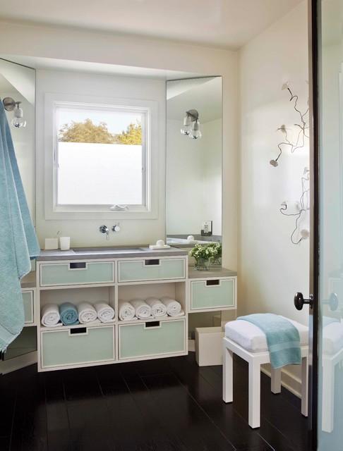 Ranch restored contemporary bathroom los angeles for Modern ranch bathroom
