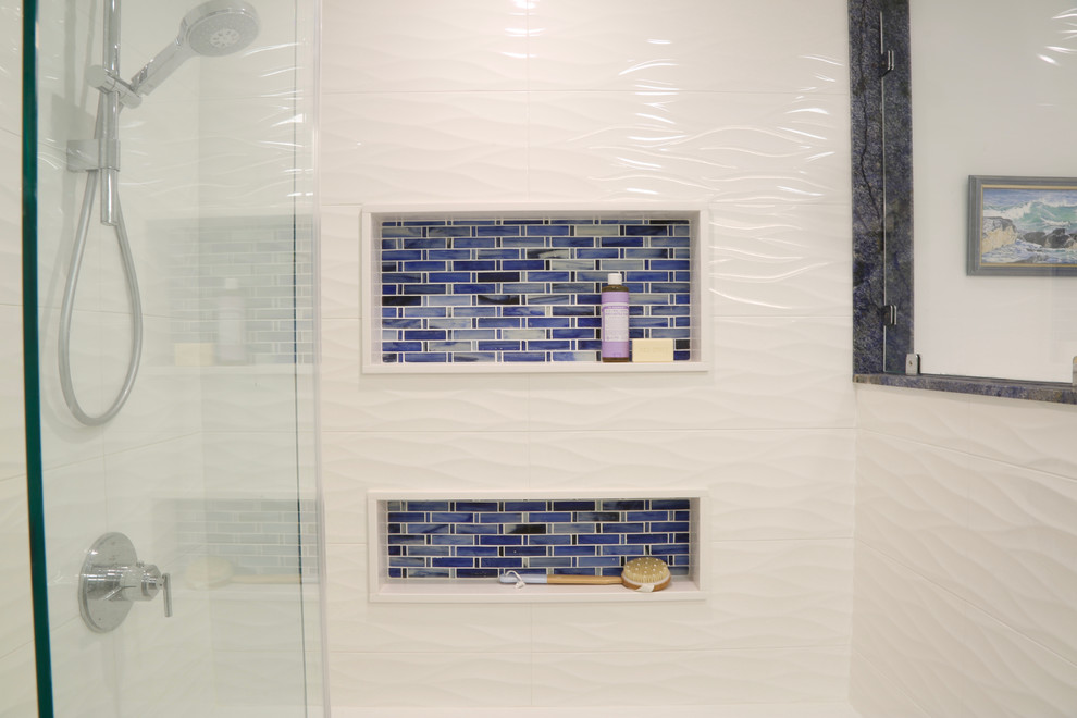 Example of a small transitional kids' white tile and ceramic tile porcelain tile bathroom design in Providence with shaker cabinets, white cabinets, a one-piece toilet, white walls, an undermount sink and granite countertops