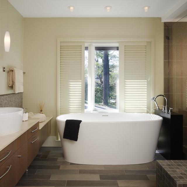 Freestanding Bathtub   Mid Sized Contemporary Master Beige Tile And  Porcelain Tile Porcelain Floor Freestanding