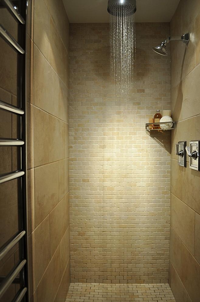 Trendy beige tile bathroom photo in Vancouver