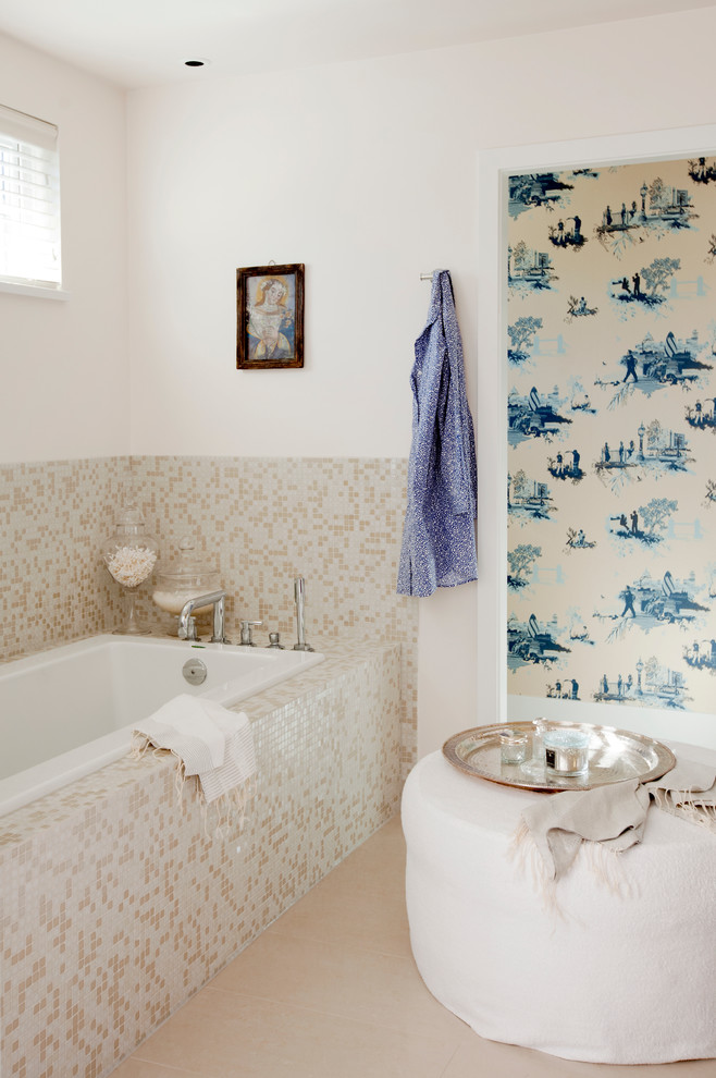 Eclectic beige tile and mosaic tile alcove bathtub photo in Vancouver