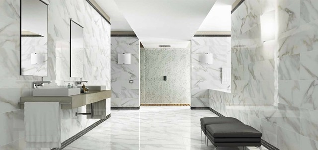Real Calcutta Polished Porcelain Tile Modern Bathroom
