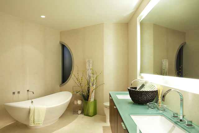 Trendy Freestanding Bathtub Photo In Vancouver With Glass Countertops And  Turquoise Countertops