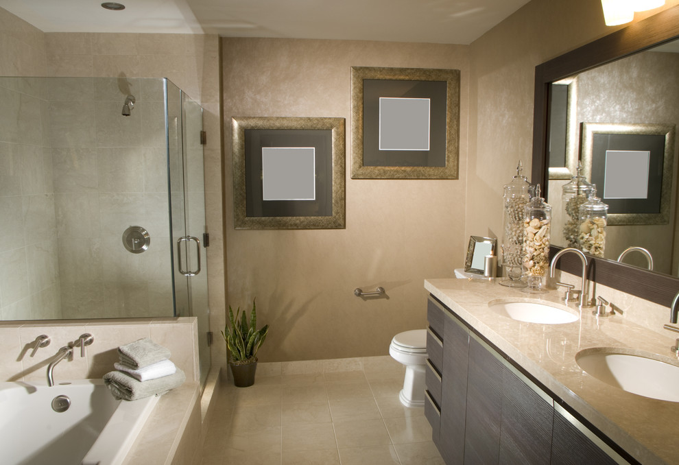 Corner shower - contemporary master beige tile and porcelain tile porcelain tile corner shower idea in DC Metro with flat-panel cabinets, dark wood cabinets, a hot tub, beige walls, an undermount sink and quartzite countertops