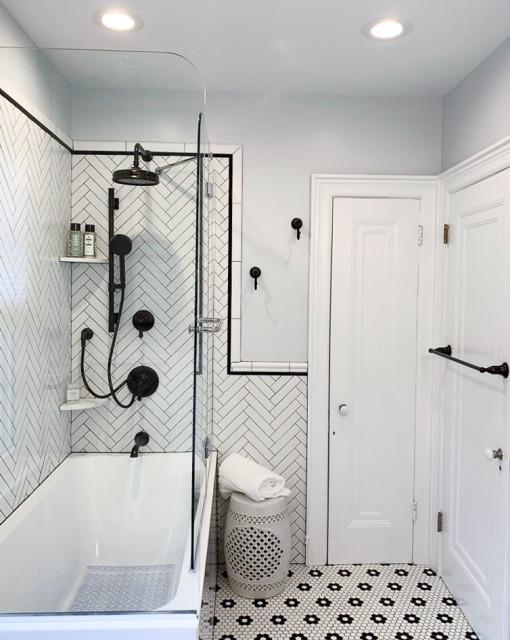 Recessed Lighting And Black Hardware Modern Bathroom Philadelphia By Dremodeling Houzz