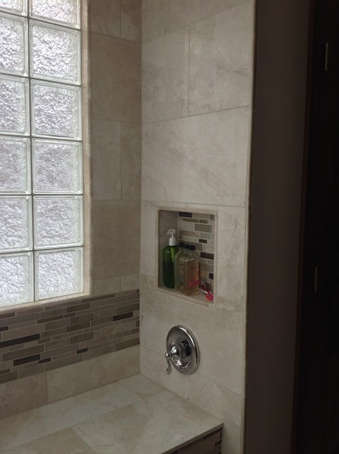 Recessed Niche Glass Block Window And Bench Seat In Handicapped Shower Columbus Transitional
