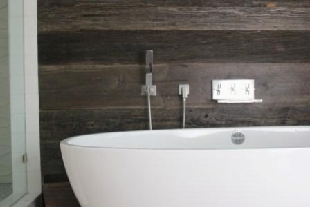 Reclaimed Barn Wood Walls Modern Bathroom