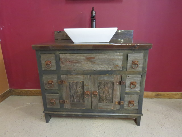 Reclaimed Gray Barn Wood Bathroom Vanity Rustic