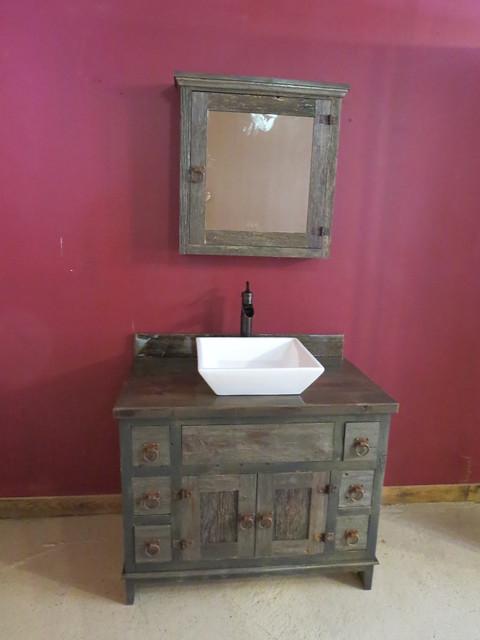 Reclaimed Gray Barn Wood Bathroom Vanity Rustic Bathroom Minneapolis