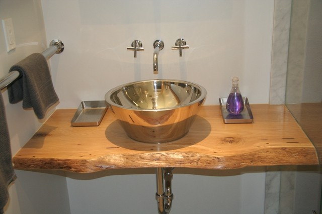 Reclaimed Live Edge White Oak Slab Vanity Top Contemporary Bathroom Toronto By Urban