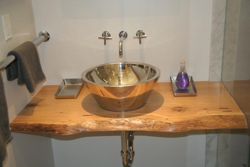 Reclaimed Live Edge White Oak Slab Vanity Top Contemporary Bathroom Toronto By Urban Tree Salvage Houzz