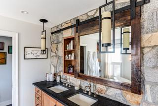 Reclaimed Rustic Barn Door Mirror Medicine Cabinet Rustic Bathroom New York By Kraftmaster Renovations