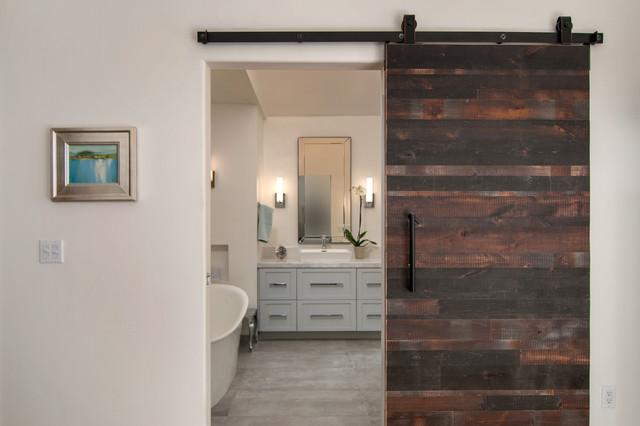 Reclaimed Wood Barn Door Entrance Modern Bathroom San Diego By Uniq Kitchen And Bath Designs