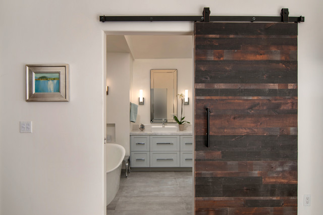 Reclaimed Wood Barn Door Entrance Modern Bathroom San