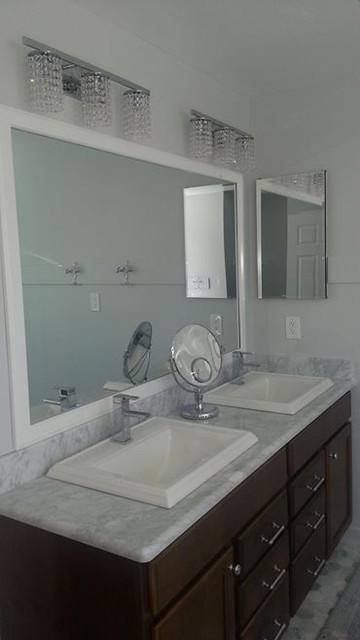 Rectangular Self Rimming Sinks, Marble Top, Custom Cabinets