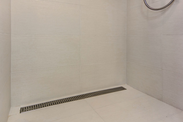 Rectangular Shower Drain Midcentury Bathroom San