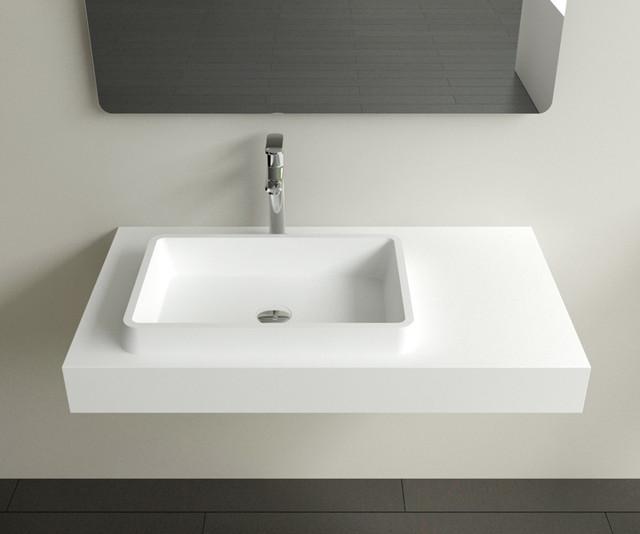 Rectangular Stone Resin Wall Mounted Sink Wt 01 Modern