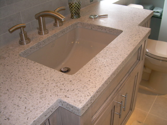 recycled glass and concrete countertop contemporary-bathroom