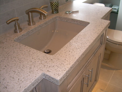 Cement and recycled glass countertop