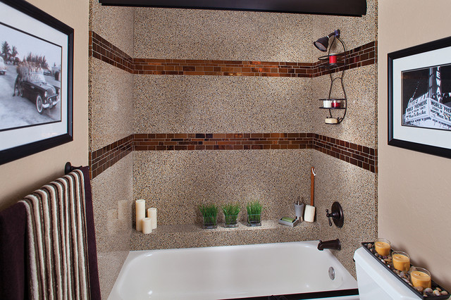 Recycled Glass Shower Surround With Tile Inlay Contemporary Bathroom Seattle By Granite