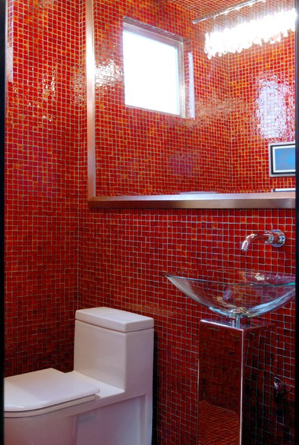 Red Bathroom Modern Bathroom Other Metro By Oceanside Glasstile