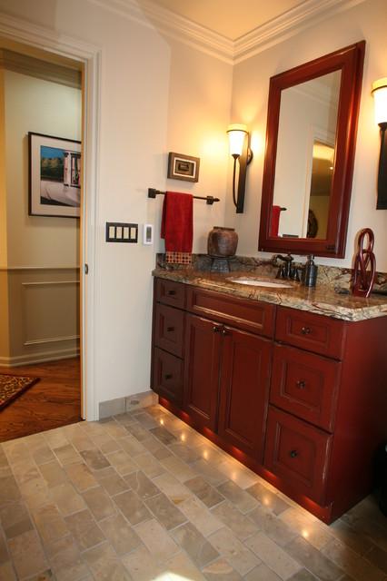 Red bathroom vanity for Red bathroom ideas photos