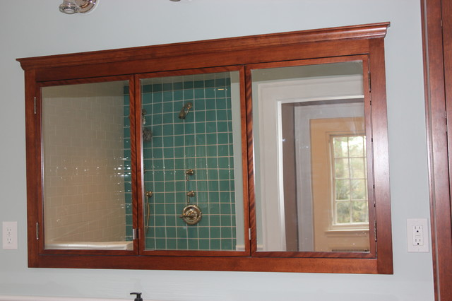 Red Birch double vanity, hutch, and double medicine cabinet - Craftsman - Bathroom - other metro ...