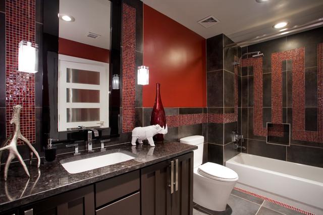 Red charcoal bathroom contemporary bathroom for Charcoal bathroom designs