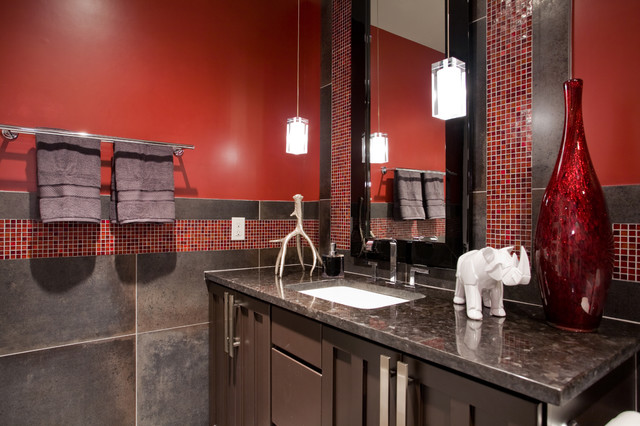 Red/ Charcoal Bathroom contemporary-bathroom