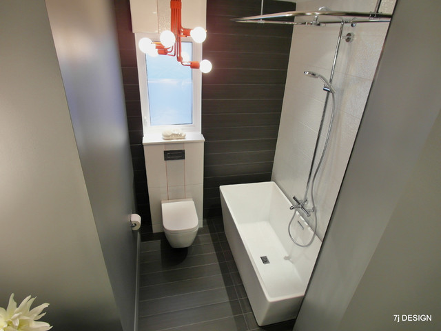 Red, Grey and White Bathroom - Contemporary - Bathroom - ottawa - by ...