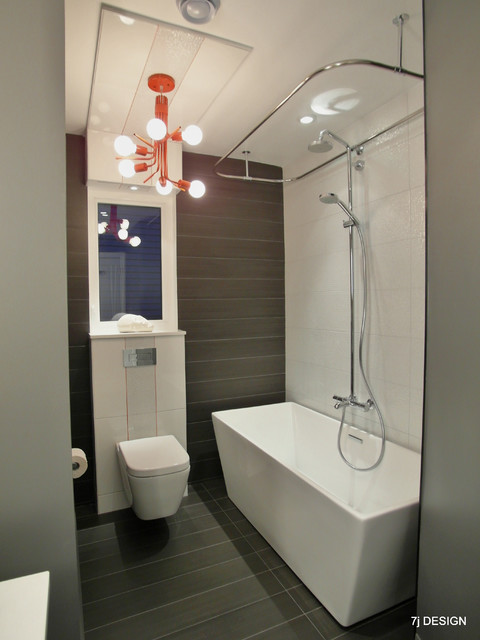 Red Grey White Bathroom Contemporary Bathroom