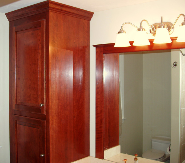 Red Mahogany on Cherry Bath Cabinets