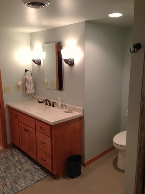 Red Pine Ct Basement Bathroom beach-style-bathroom