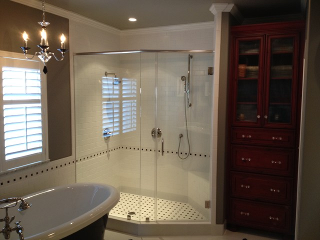 Red White And Black Master Bathroom Traditional