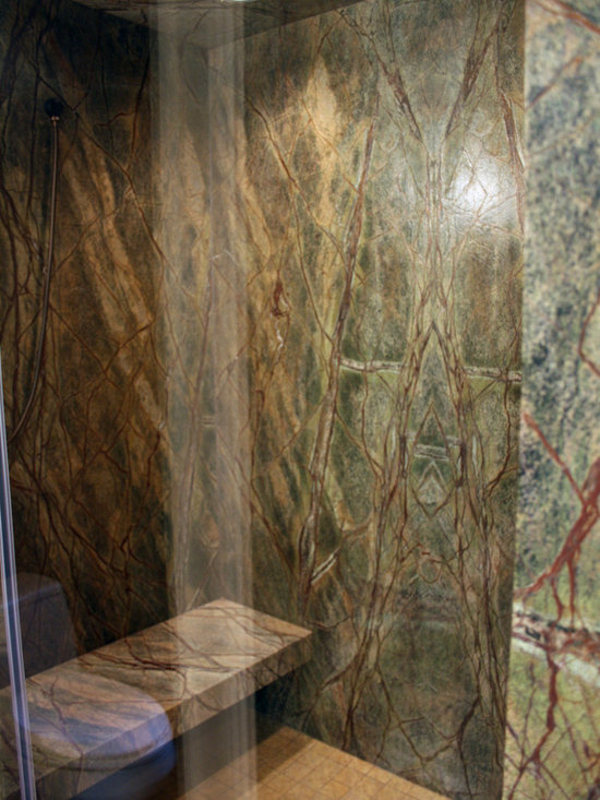 Forest Green Marble : Rain forest green marble master bath